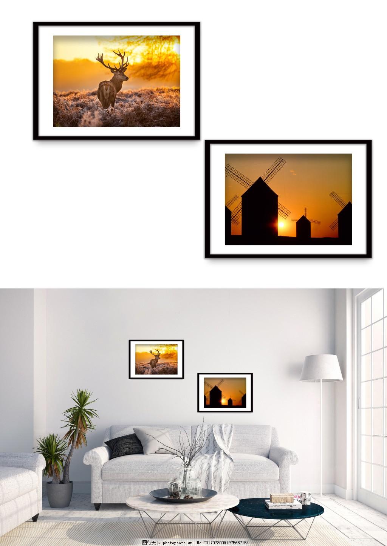 现代夕阳夜景麋鹿风车风景装饰画 双拼 客厅无框画 无框画图片 精品装饰画