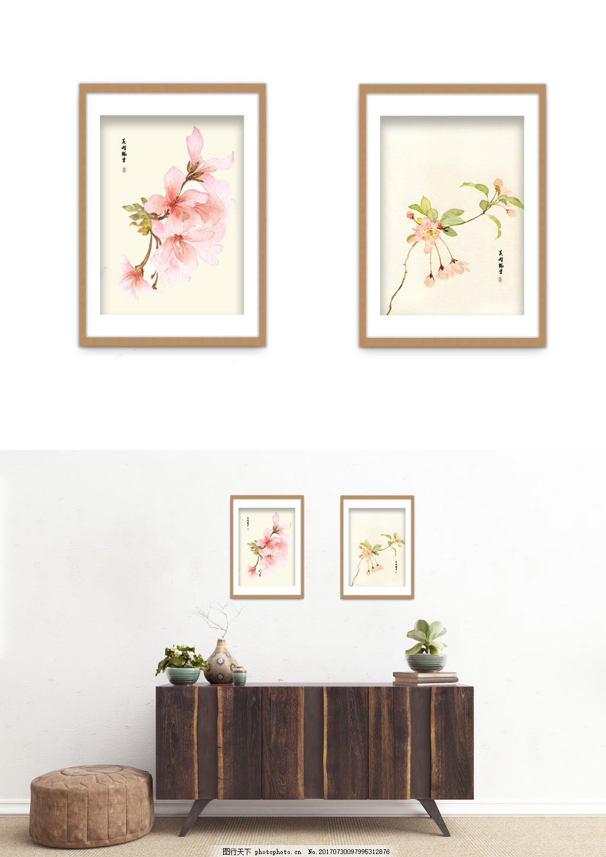中国风水墨桃花典雅装饰画 水彩 风景 双拼 客厅无框画 无框画图片