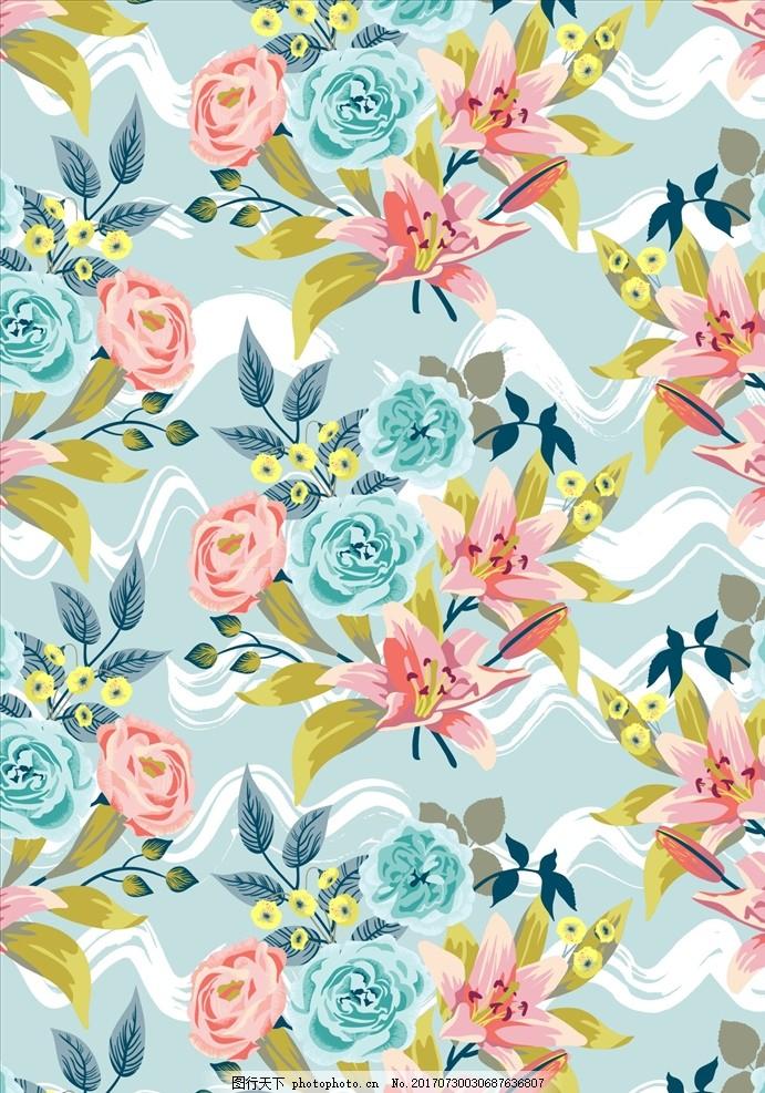 植物花朵花卉四方连续底纹 服装设计 男装设计 女装设计 箱包印花