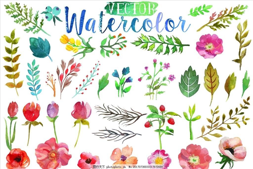 水彩花朵 水彩叶子 插画 手绘 装饰画 婚礼 花篮 玫瑰花 贺卡
