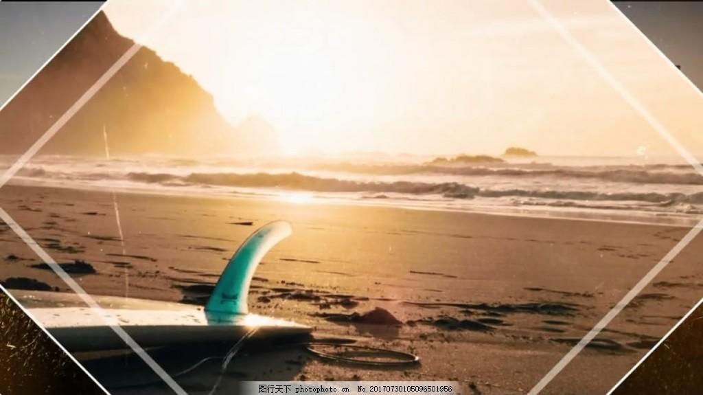 夏天旅游照片展示 度假 线条 简洁 夏日 视频模板 高清视频模板