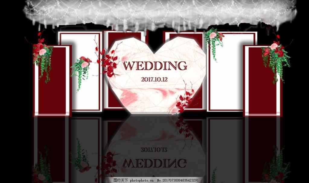 红白婚礼 心形 红色 白色 云顶 叶子