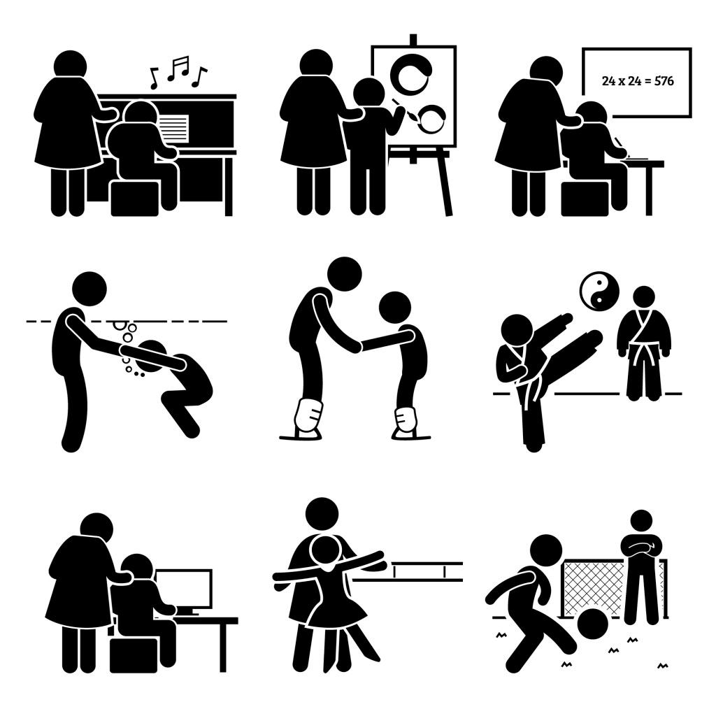 经典溜冰黑白圆头小人解说 运动 跳舞 矢量 源文件 下载图案 装饰图案