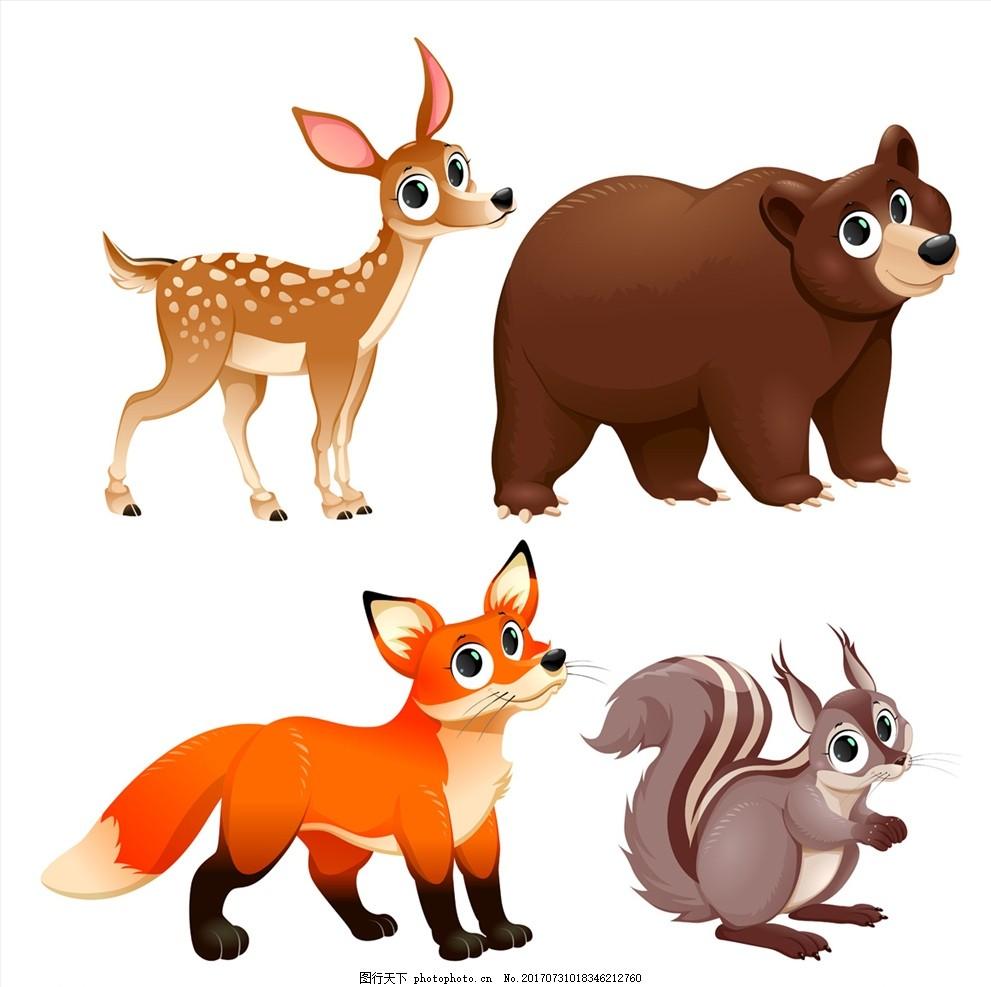 公园 小动物漫画 小动物图案 q版插图 q版动物 插画 简笔画 可爱狐狸
