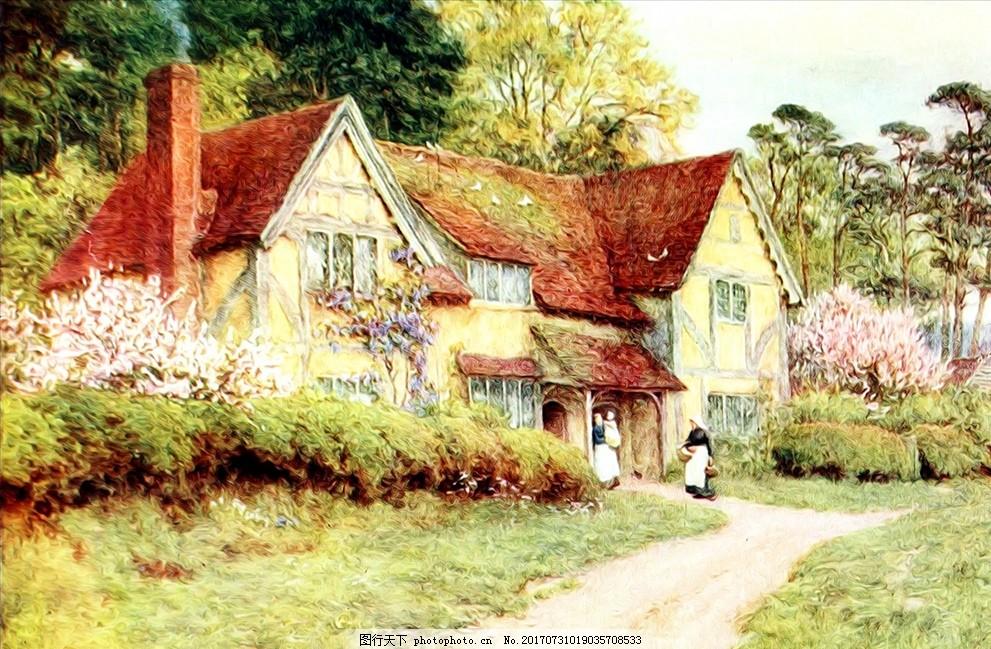 乡村房子水彩风景画