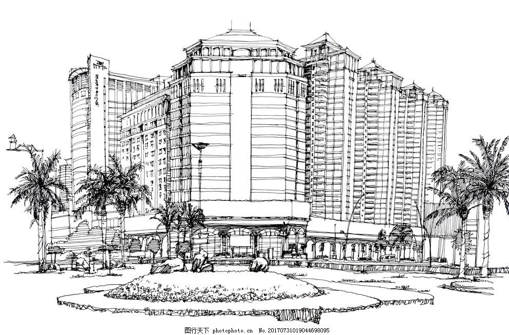 建筑手绘线稿 君悦华庭 城市 速写 景观 汕头 住宅 商业 全景