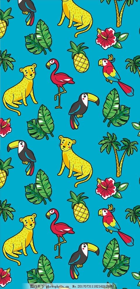 卡通动物鸟类花朵四方连续底纹