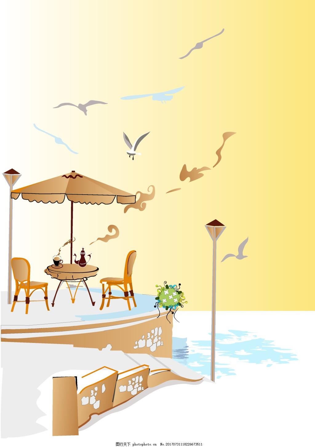 大海海鸥休闲下午茶背景 简约 线条 油画 水彩 阳台