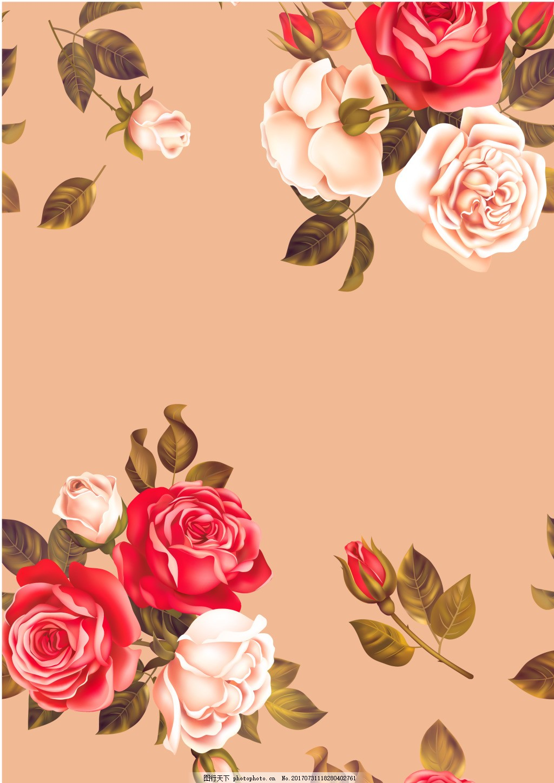 浪漫月季花朵背景 花枝 绿叶 花苞 简约 海报