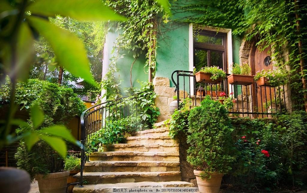 美丽小房子 石板梯 小房子 台阶 山路小道 蓝天 春天 家园 摄影 自然