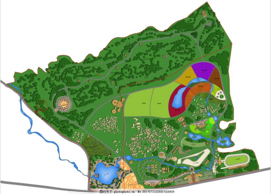 旅游规划彩色平面效果图 镇区旅游 规划设计 彩色平面图