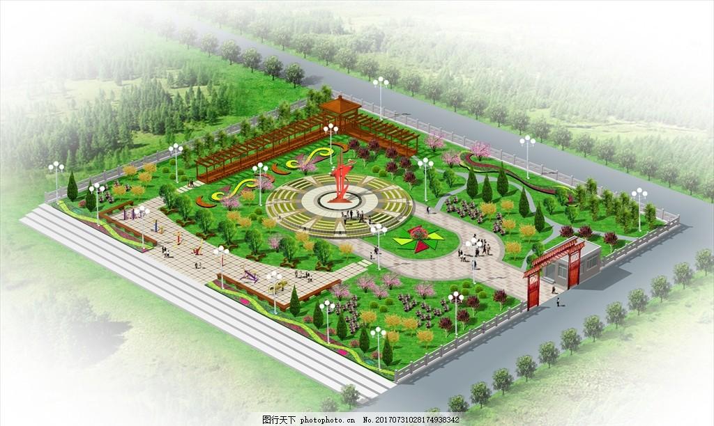 广场景观效果图 psd源文件 环境设计 景观 园林 鸟瞰 设计 自然景观