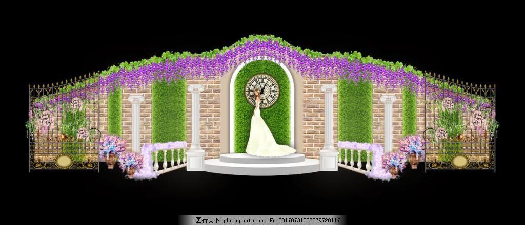 展示签到婚礼效果图 欧式森系 时钟 叶墙 罗马柱 罗马花墩 扶手栏杆
