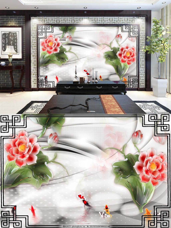 中国风花朵背景墙 鲤鱼 水面 线条