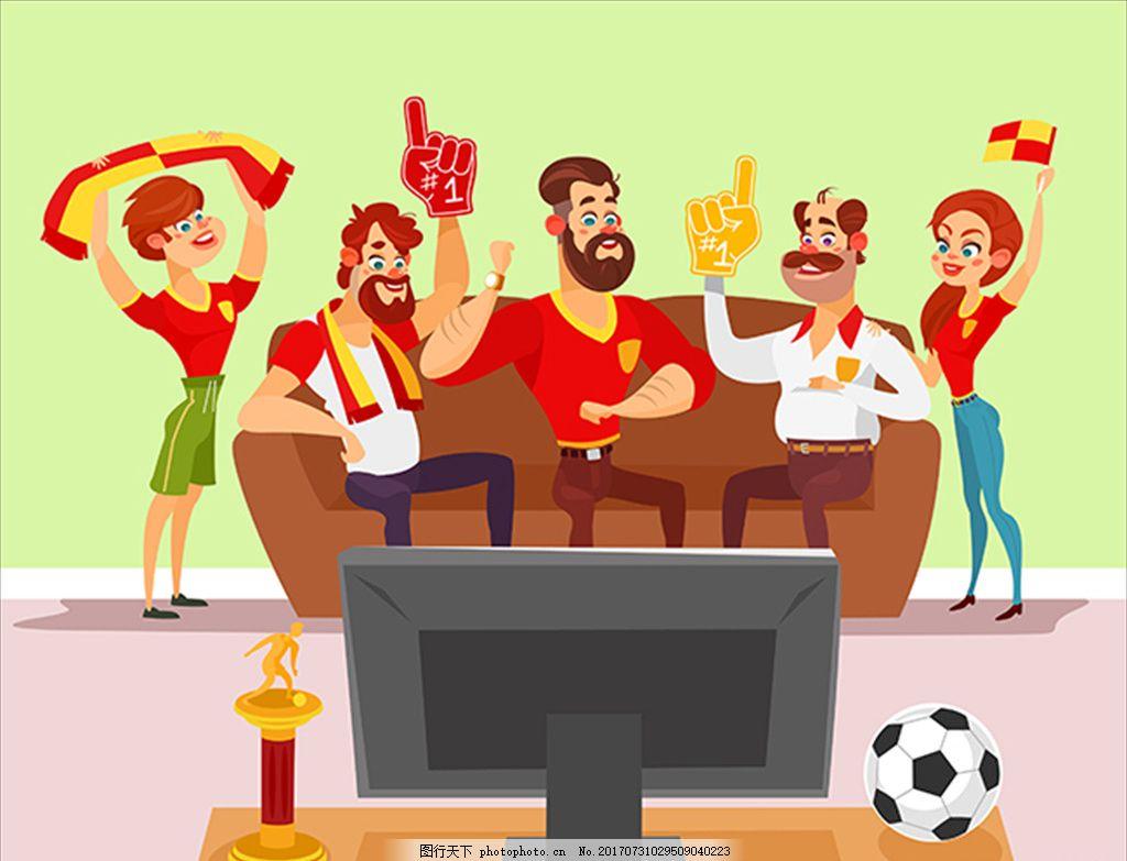 卡通一起看电视球赛的人们,足球 足球海报 足球