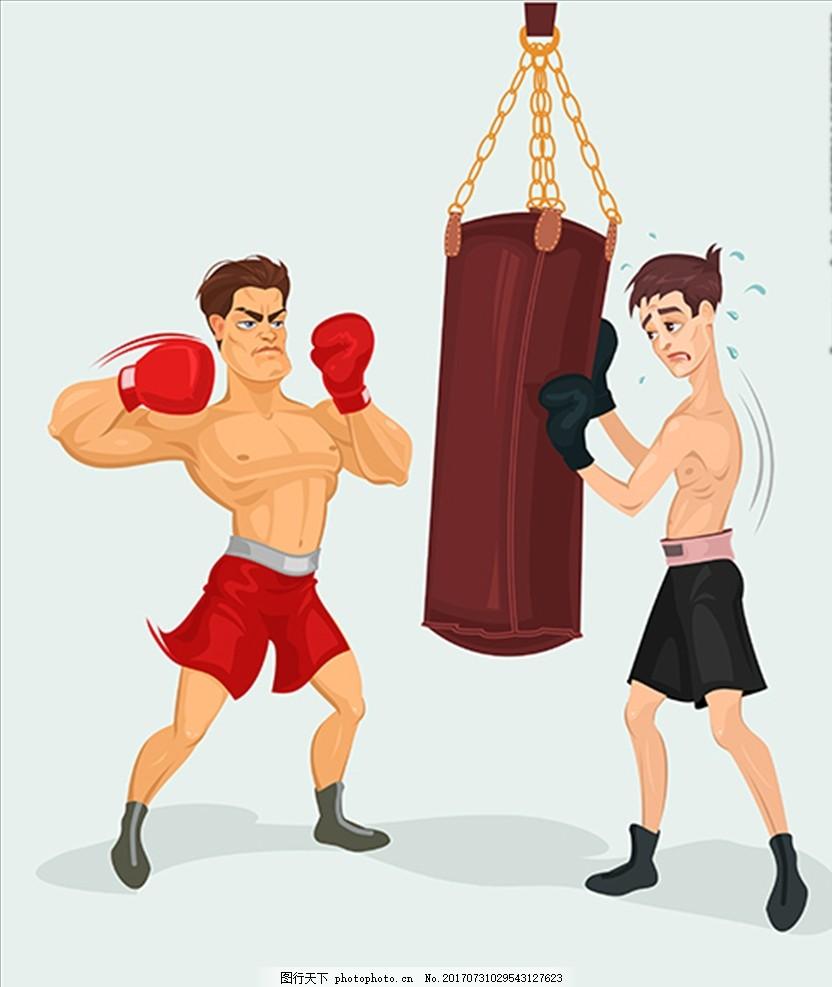 手绘卡通拳击手插图 拳击海报 拳击展板 拳击运动 拳击展架 拳击挂画