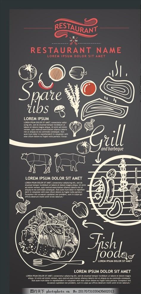 美食总动员 美食宣传单 黑板 手绘菜单 手绘 粉笔 粉笔字 西餐 汉堡