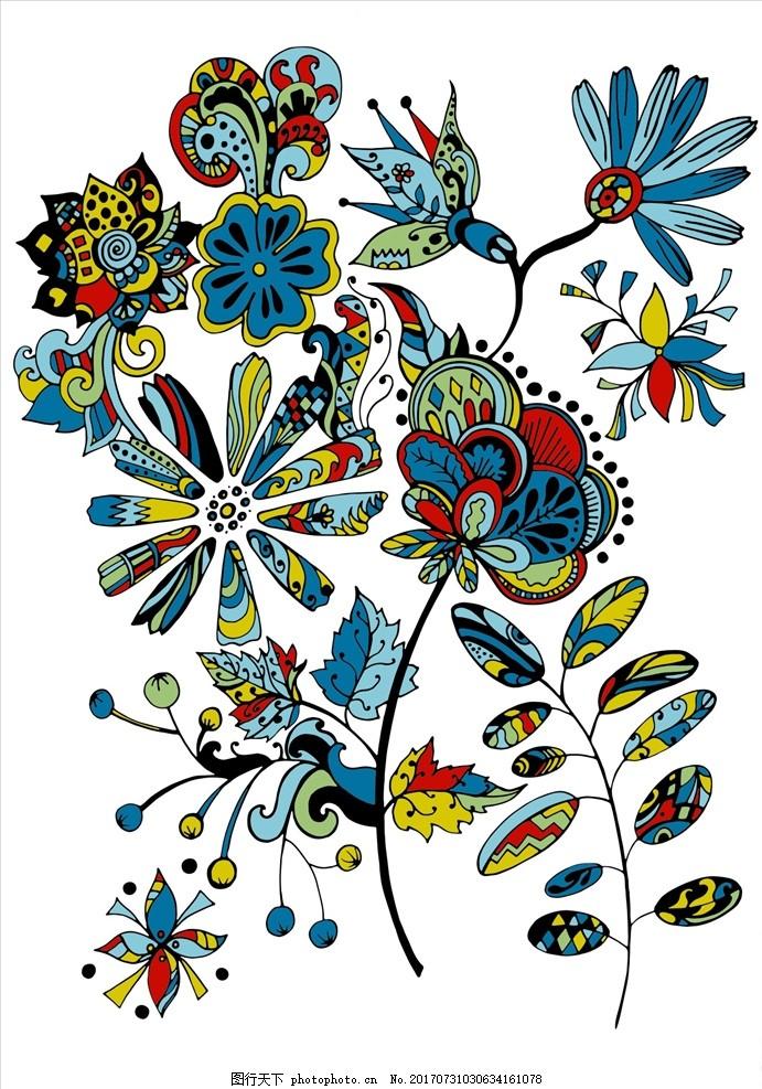 连续底纹 四方连续花纹 藤蔓 植物花卉 手绘花纹 树枝 植物花卉 设计