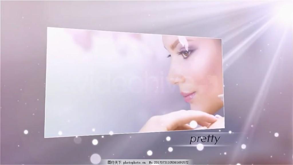朦胧背景粒子照片展示 光效 波点 人物 视频模板 高清视频模板