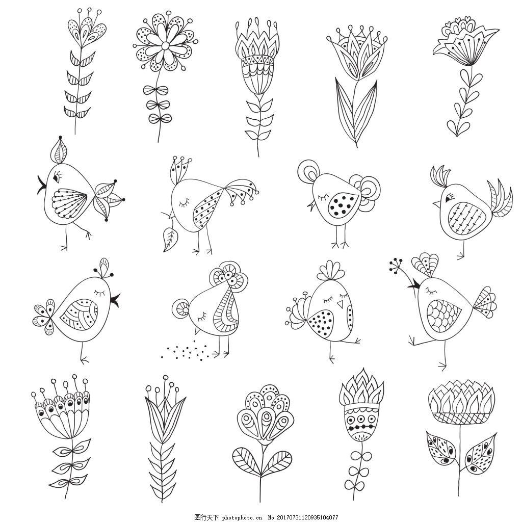 黑白线条花朵树叶动物矢量插画