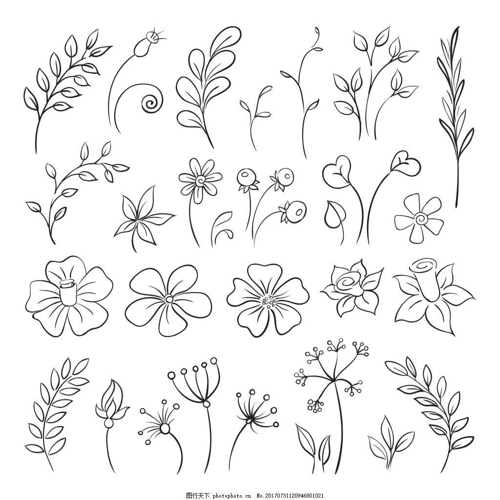 简单线条花朵树叶桂冠矢量插画设计图片