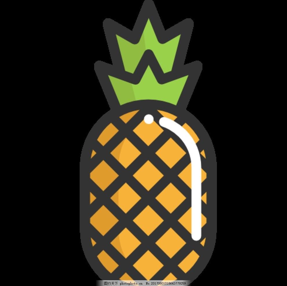 菠萝 手绘 水果 线条 凤梨 动漫动画