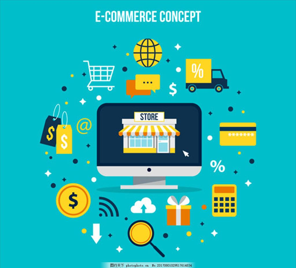 彩色网络购物概念图 背景展板 扁平化设计 企业展板 年度报告 汇报