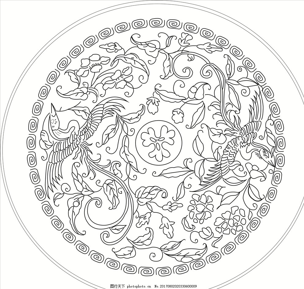 凤凰 瓷盘刻花 圆形 喜庆 形象 矢量 宋代 黑白 设计 底纹边框 花边