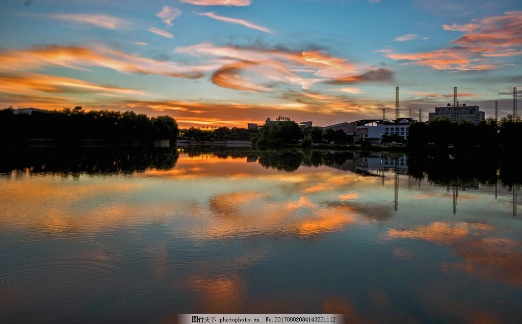 阳山森林公园 大白荡 湿地公园 夏季晚霞 摄影 自然景观 自然风景 240