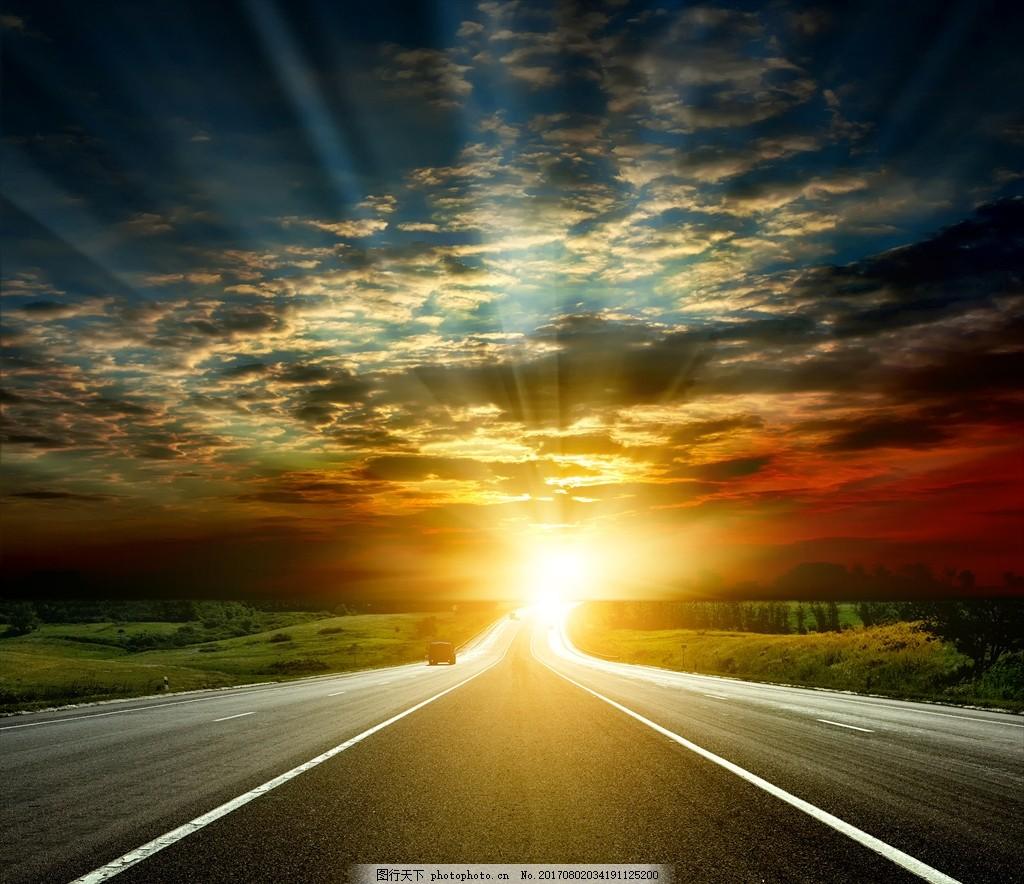 公路 云层 太阳      晚霞 草地 山坡 自然风景 摄影 自然景观 自然