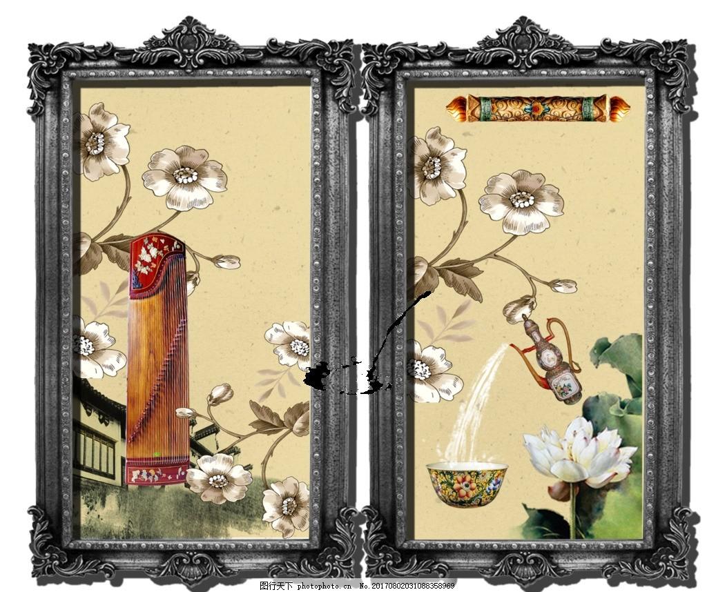 装饰画 中国画 山水画 水墨画 新中式 欧式相框