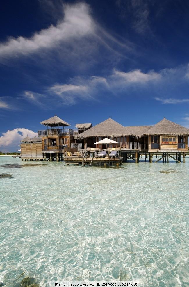 马尔代夫吉利岛 度假别墅 度假木屋 水上木屋 海上栈道 豪华别墅 水上