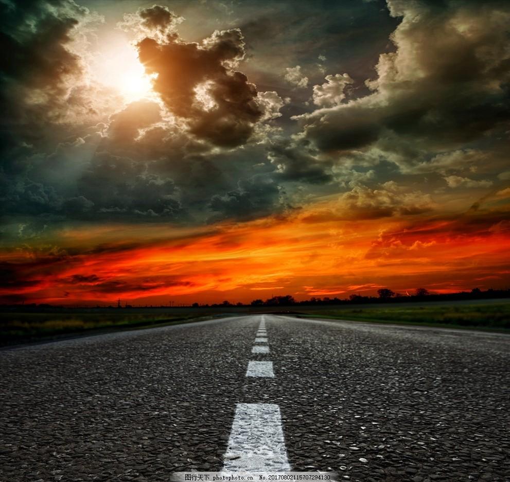 公路 多云 晚霞 火烧云 云层 太阳 自然风景 摄影 自然景观