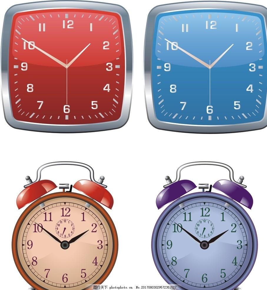 钟表 钟表素材简约 时尚挂钟 矢量钟表素材 红色钟表 时尚钟表