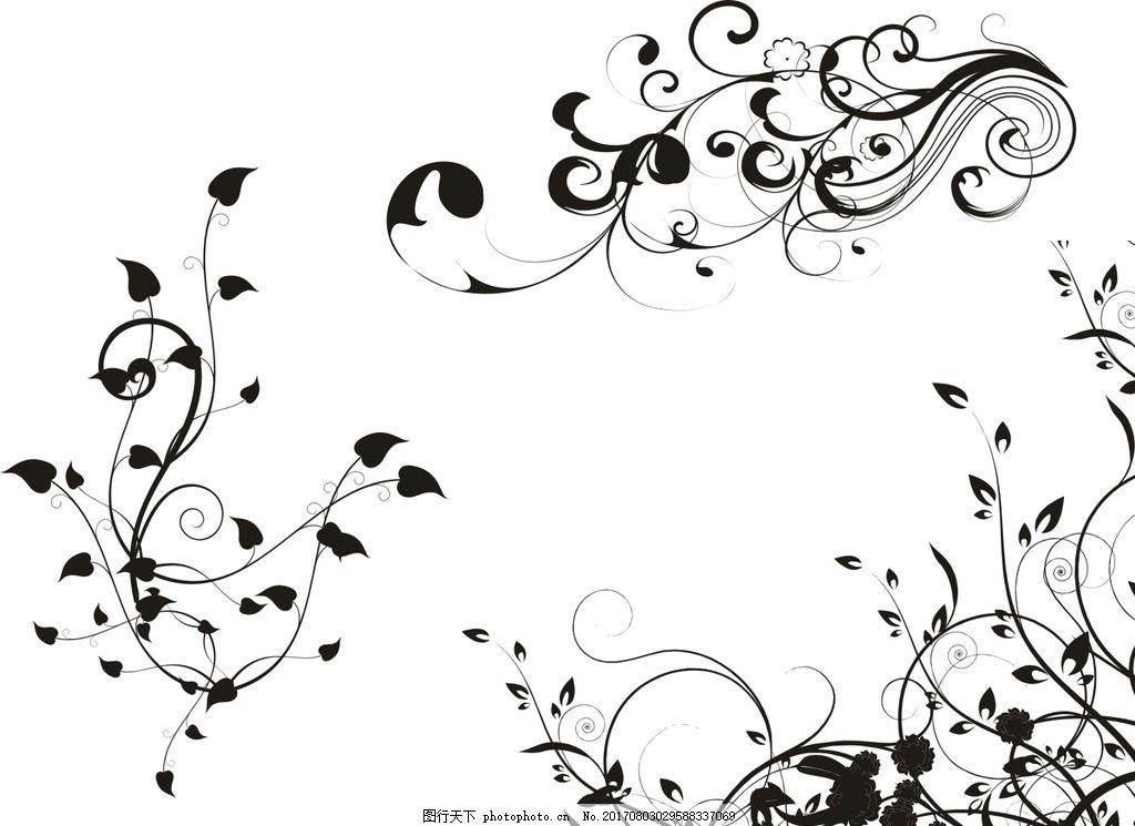 边框 花边花纹 蓝色花纹 古典花纹 黑色花纹 简洁花纹 矢量黑白花纹