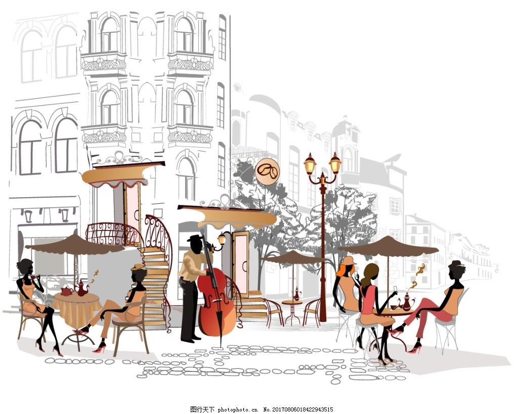 速写手绘街角咖啡厅插画