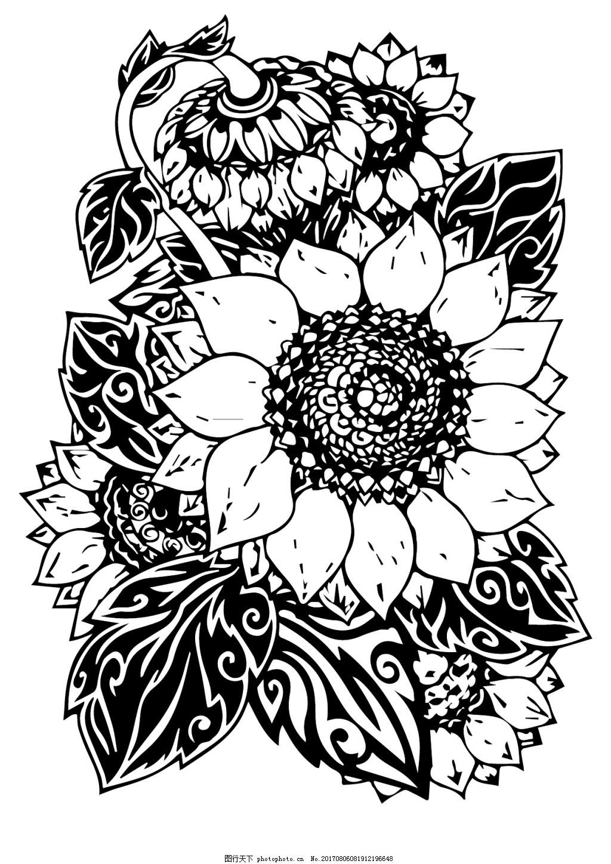 向日葵黑白线条设计 植物 线描 板雕 装饰画 矢量图片