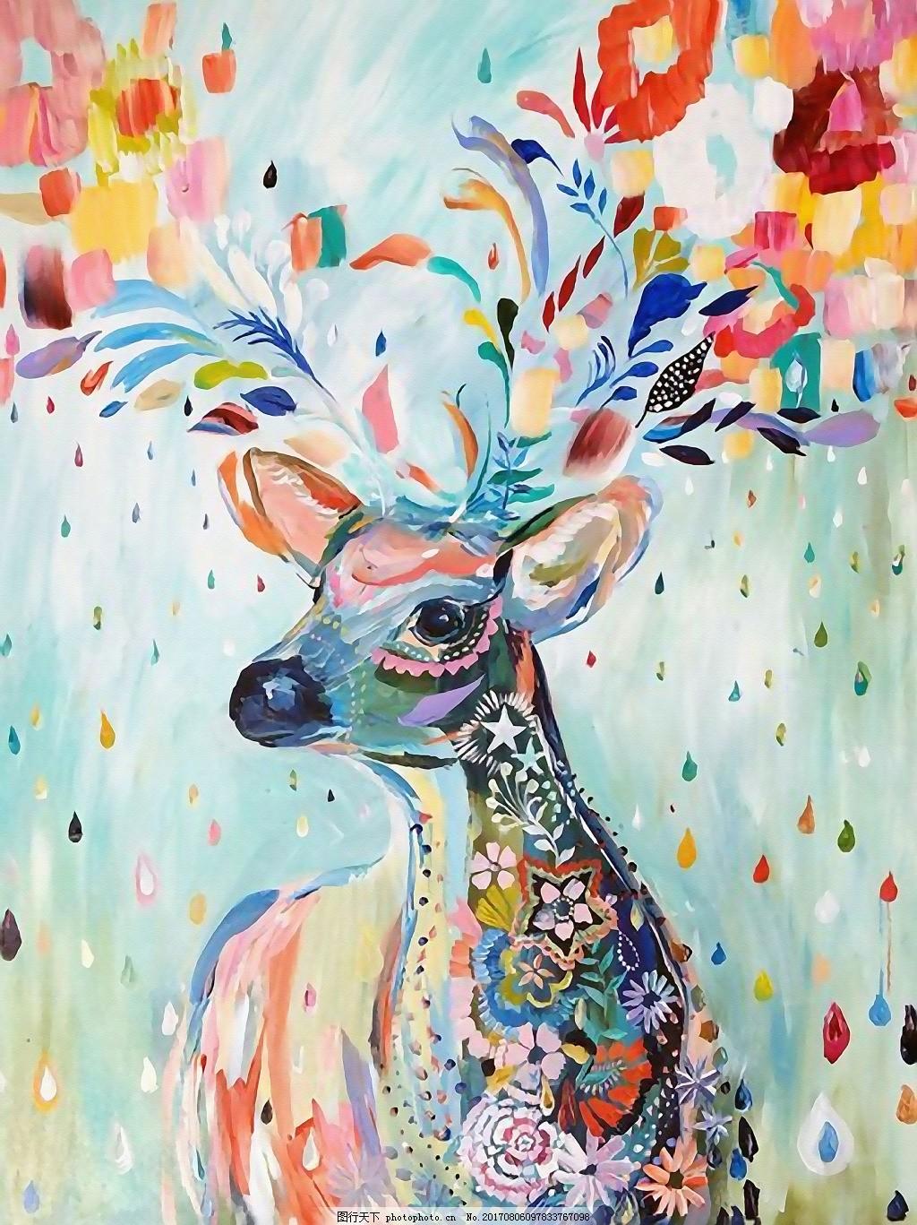 水彩手绘鹿