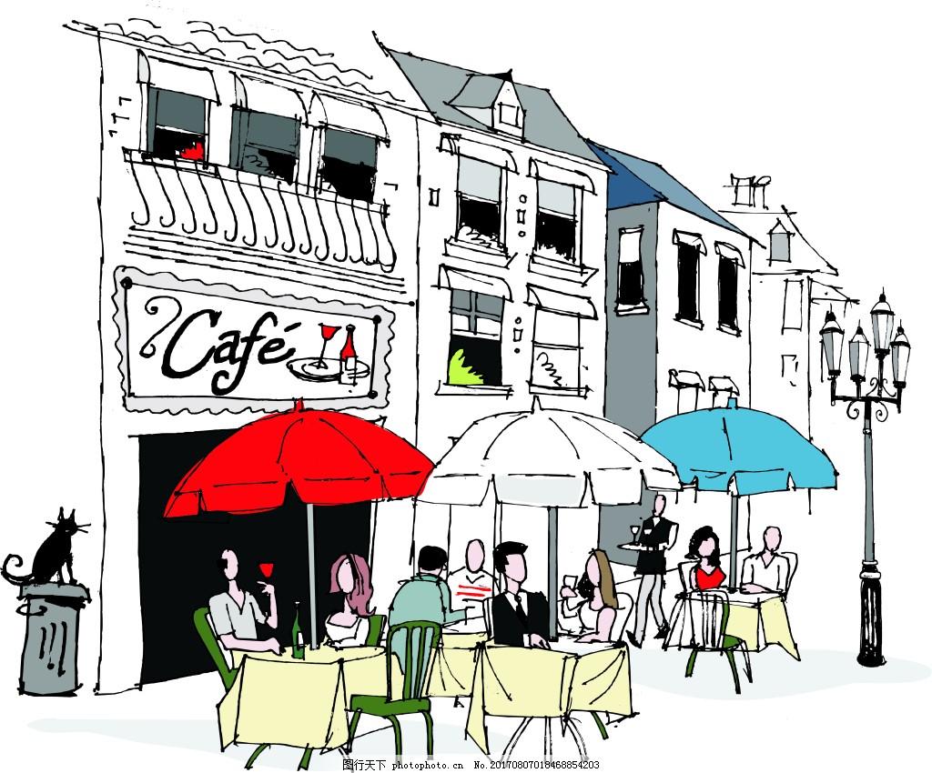 手绘咖啡厅一角场景插画