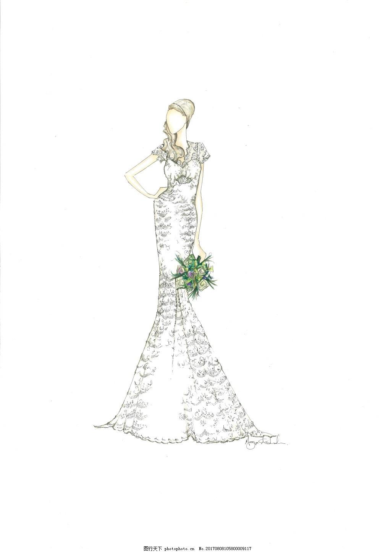 大牌时装设计服装设计手稿图 婚纱 速写 手绘 人物 高档 时尚
