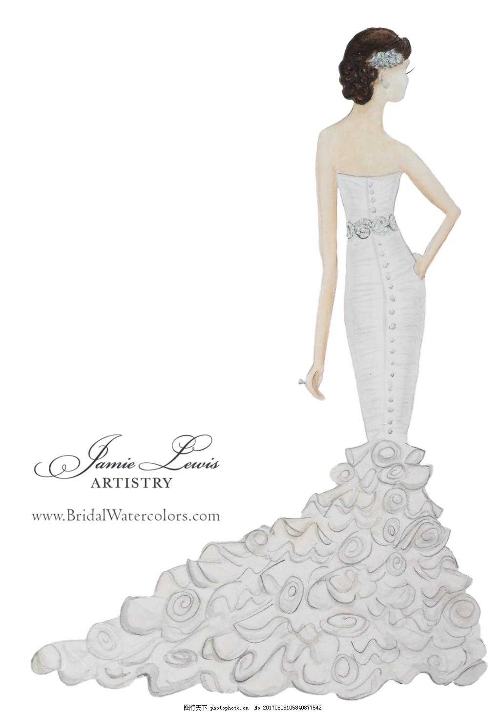 鱼尾婚纱设计效果图 速写 手绘 人物 服装 高档 时尚 巴黎时装周