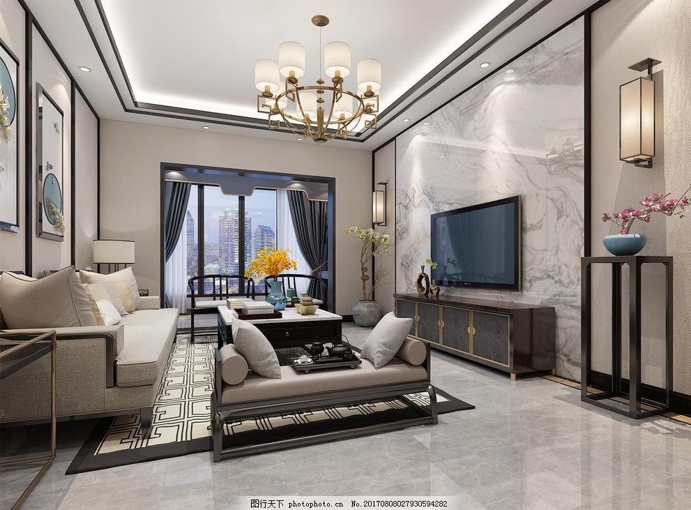 新中式客厅 大理石背景 地砖拼花 吊顶 新中式沙发图片