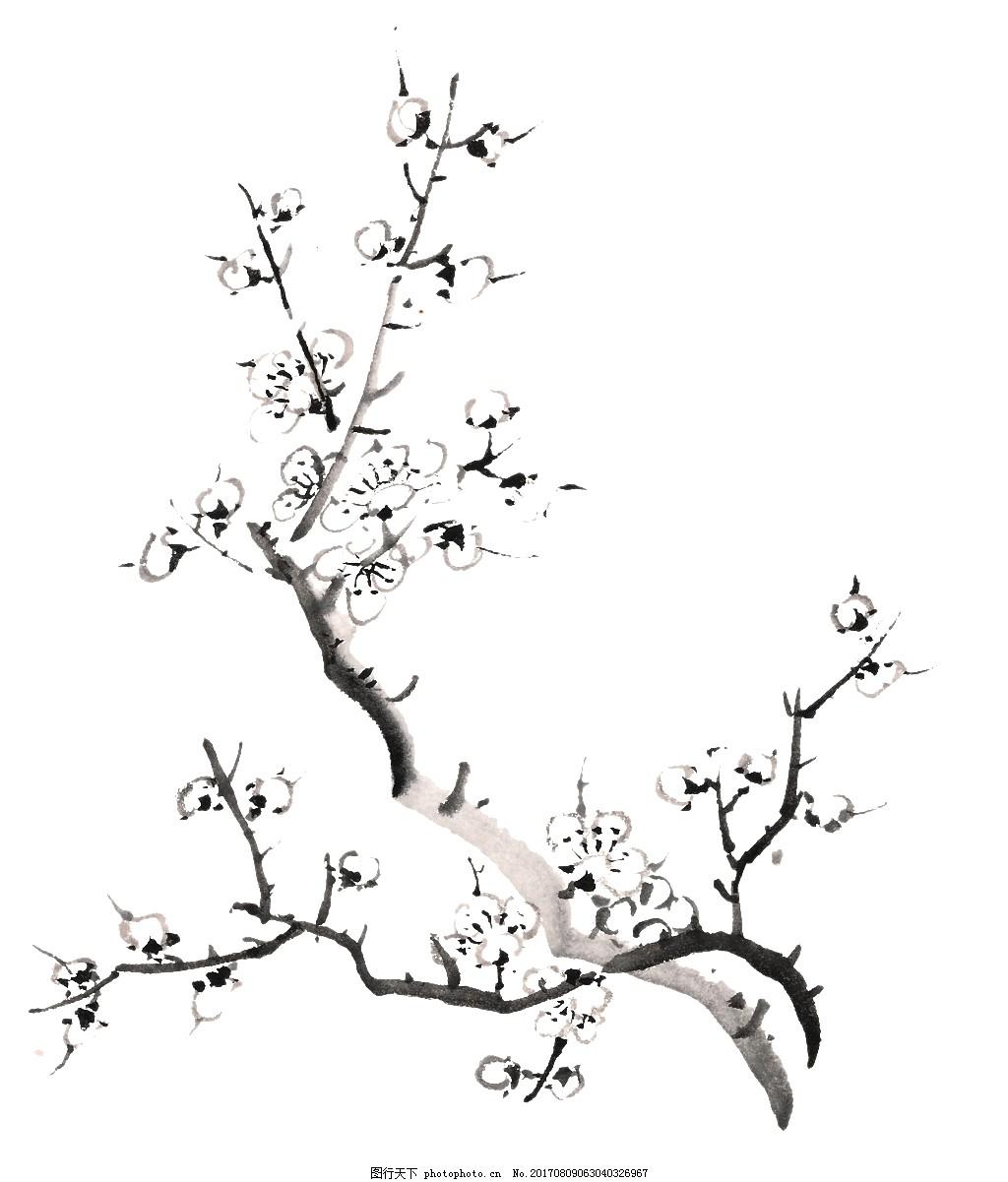 水墨手绘桃树网页设计素材