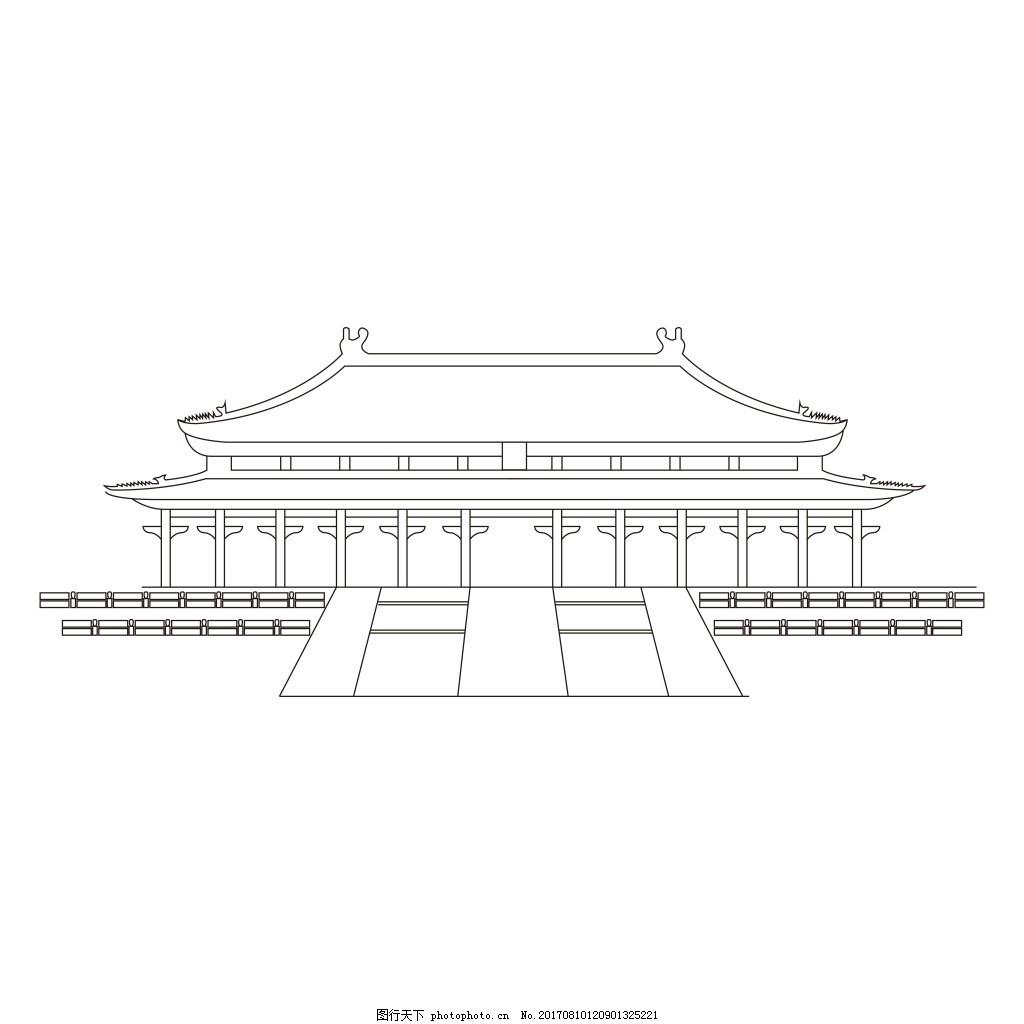 太和殿手绘线条元素 故宫 宫殿 矢量 线稿