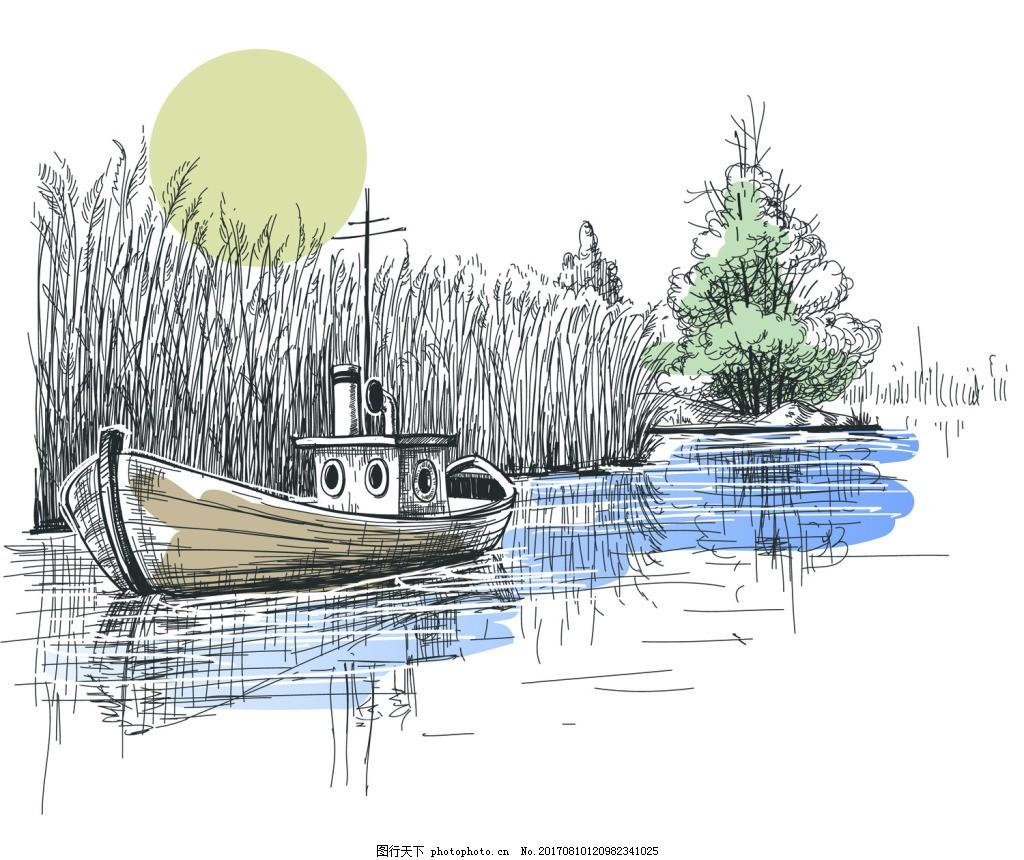 铅笔素描风帆船与旅行矢量