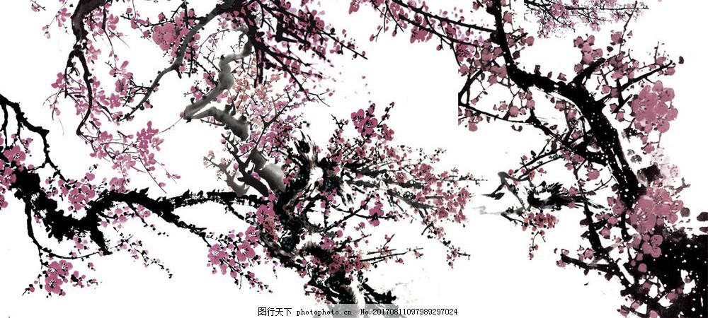 古风梅花素材下载 风景画 自然 背景图 装饰画 免费素材 唯美