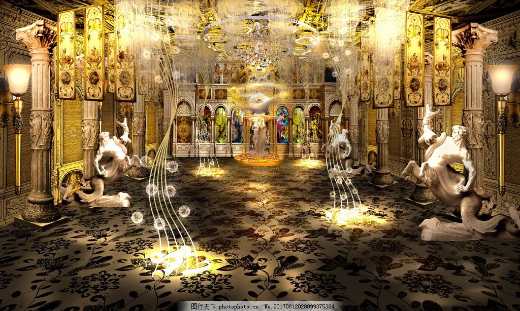 欧式宫殿装饰效果图 金色 辉煌 罗马柱 壁灯 布置 场景 宫廷