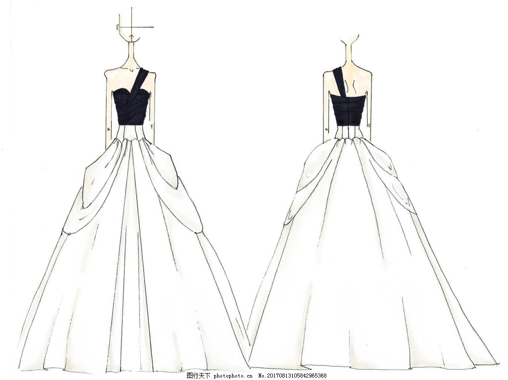 手绘时尚婚纱设计 速写 人物 服装 高档 巴黎时装周 服饰 衣服