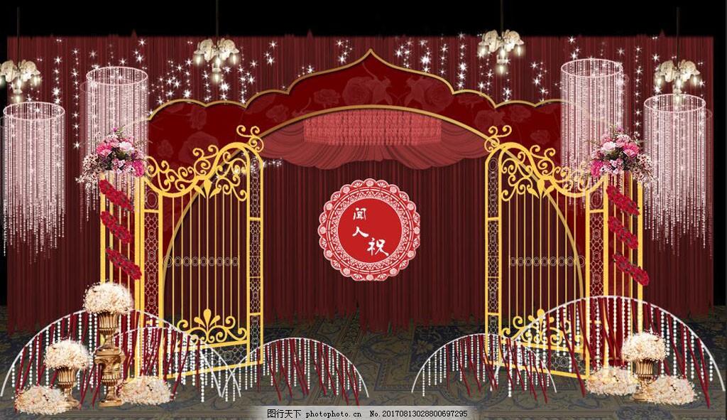 红金色婚礼 迎宾区效果图 红色婚礼 金色婚礼 欧式婚礼 金色门框 铁门