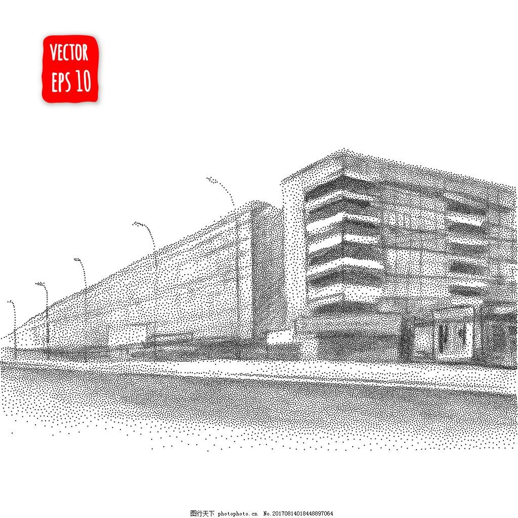 黑白素描建筑插画 房子 手绘 艺术